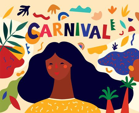 Colorful pattern with abstract stylish individual design elements. Design for holidays Brazil Carnival or party Illustration