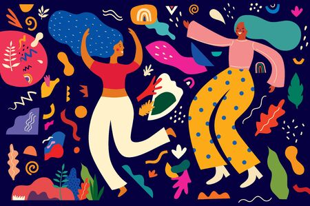 Colorful pattern with abstract stylish individual design elements. Dancing people. New Year celebration. Design for holidays Birthday, New Year, Brazil Carnival or party