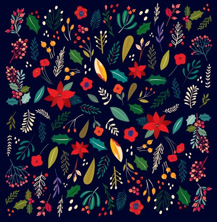 Beautiful Christmas floral vector pattern