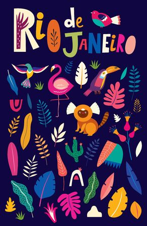 Vector colorful illustration with tropical flowers, leaves, monkey, flamingo and birds. Brazil tropical pattern. Rio de janeiro pattern