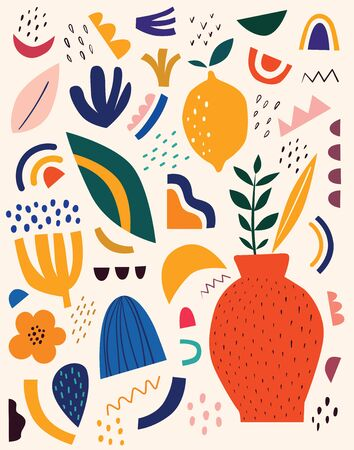 Cute spring pattern with fruits and abstract elements. Decorative abstract illustration with colorful doodles. Hand-drawn modern illustration with flowers, abstract elements