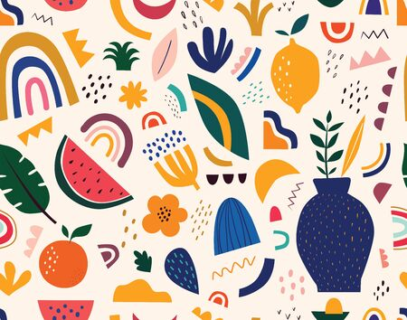 Spring pattern with fruits and abstract elements seamless pattern