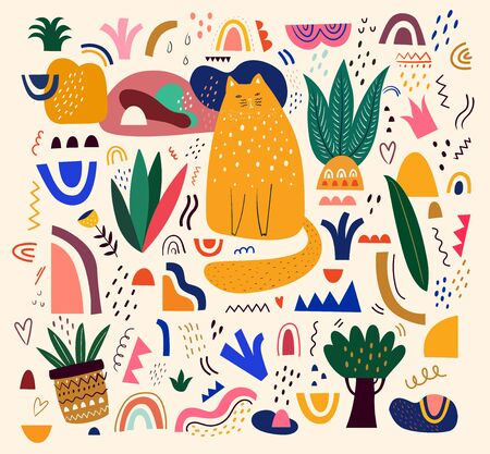 Cute spring pattern with cat. Decorative abstract illustration with colorful doodles. Hand-drawn modern illustration with cats, flowers, abstract elements Ilustrace