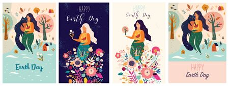 Happy Earth Day Vector templates with woman, flowers, nature and cat.