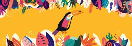 Vector colorful illustration with tropical flowers, leaves and toucan Ilustrace