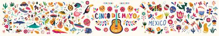 Beautiful vector illustration with design for Mexican holiday 5 may Cinco De Mayo. Vector template with traditional Mexican symbols skull, Mexican guitar, flowers, Mexican animals Ilustrace