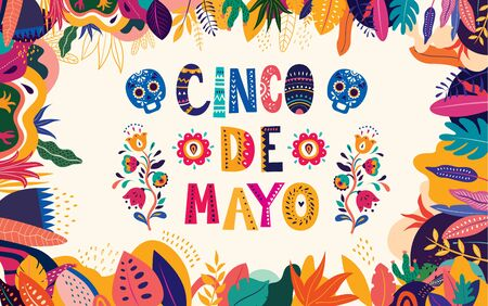 Beautiful vector illustration with design for Mexican holiday 5 may Cinco De Mayo. Vector template with traditional Mexican symbols skull, Mexican flowers, red pepper.
