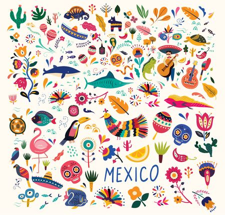 Mexican decorative vector pattern. Map of Mexico with traditional symbols and decorative elements. Mexican animals