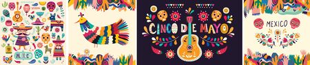 Beautiful vector collection with design for Mexican holiday 5 may Cinco De Mayo. Vector template with traditional Mexican symbols skull, Mexican guitar, flowers, red pepper