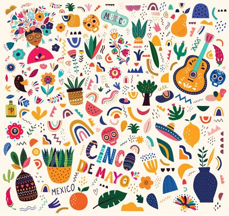 Beautiful vector illustration with design for Mexican holiday 5 may Cinco De Mayo. Vector template with traditional Mexican symbols: Mexican guitar, flowers, red pepper, skull. Mexican pattern