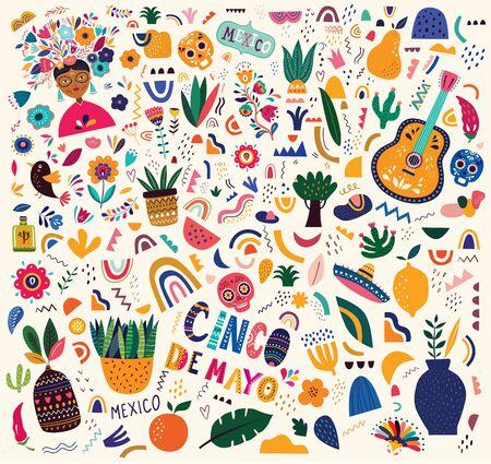 Belle illustration vectorielle avec design pour les vacances mexicaines 5 mai Cinco De Mayo. Modèle vectoriel avec symboles mexicains traditionnels : guitare mexicaine, fleurs, poivron rouge, crâne. Motif mexicain