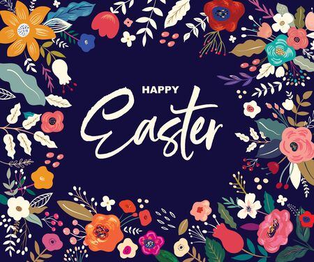 Easter greeting  with colorful spring flowers. Happy Easter template, invitation Ilustrace