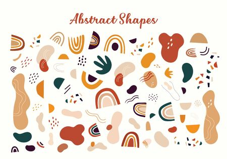 Decorative abstract collection with colorful doodles and abstract shapes. Hand-drawn modern illustration