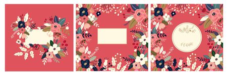 Beautiful romantic flower collection with roses, leaves, floral bouquets, flower compositions. Floral invitations and cards