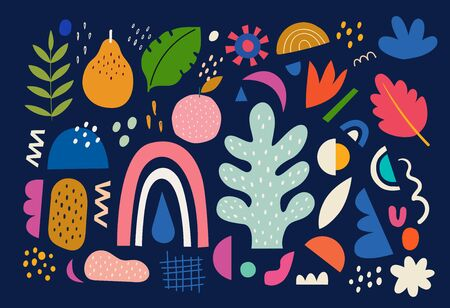Collection of colorful doodles with pear, flowers, rainbow and leaves Ilustrace