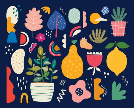 Collection of colorful doodles with summer fruits lemon, pear, flowers and leaves
