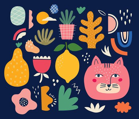 Cute spring pattern collection with cat. Decorative abstract horizontal banner with colorful doodles. Hand-drawn modern illustrations with cats, flowers, abstract elements. Abstract series Ilustrace