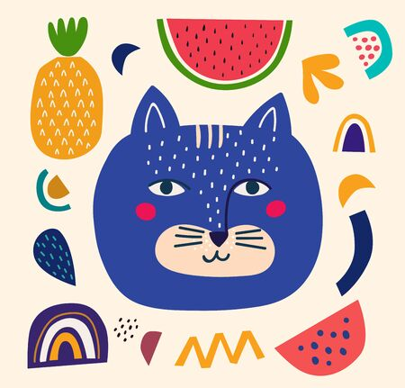 Vector modern illustration with blue cat