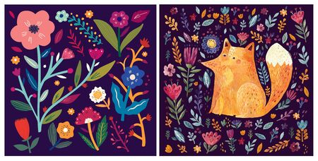 Collection of spring, summer cards. Hand drawn illustration with cute fox, flowers and leaves. Spring summer card