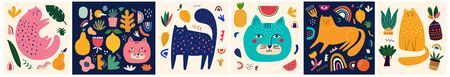 Cute spring collection with cats. Decorative abstract horizontal banner with colorful cats. Hand-drawn modern illustrations with cats and flowers. Set of art posters and cards
