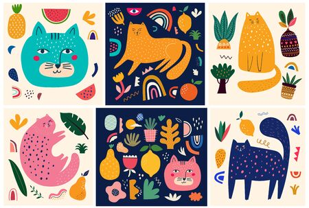 Cute spring collection with cats. Decorative abstract posters with colorful cats. Hand-drawn modern illustrations with cats and flowers. Set of art posters and cards Ilustrace