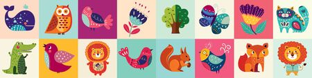 Colorful collection of funny baby animals owl, cat, bird, crocodile, lion, fox Ilustrace