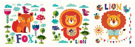 Colorful collection of funny baby posters with animals lions and fox. Children poster designs