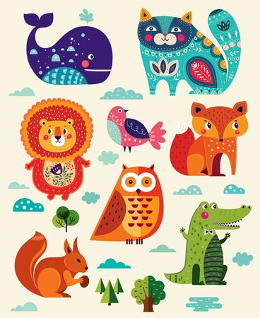 Colorful baby collection of funny animals owl, cat, bird, crocodile, lion, fox, whale and children poster design with lion