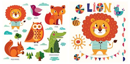 Colorful baby collection of funny animals owl, cat, bird, crocodile, lion, fox and children poster design with lion