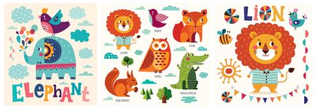 Colorful baby collection of funny animals owl, cat, bird, crocodile, lion, fox and children poster design with lion and elephant Ilustrace