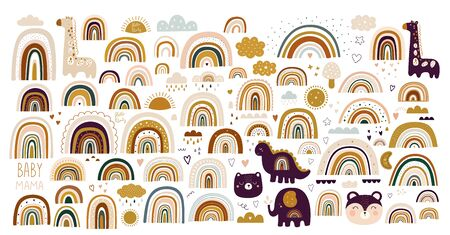 Decorative vector abstract art collection with modern rainbows, funny animals baby and clouds. Hand-drawn modern illustration. Baby trendy decorative collection Ilustrace