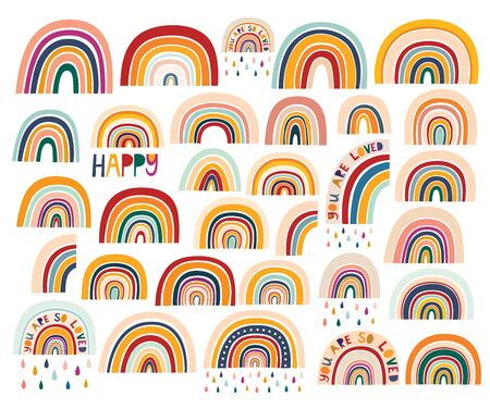 Decorative abstract art collection with modern rainbows. Hand-drawn modern illustration. Baby trendy decorative collection