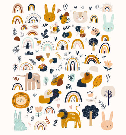 Abstract doodles. Baby animals pattern. Fabric pattern. Vector illustration with cute animals. Nursery baby pattern illustration