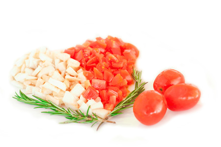 tomato and mushroom with rosemary in the shape of heart photo