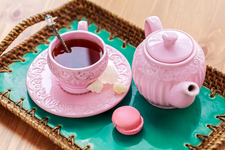 Tea with pink macaroon dates and rock sugar nabot photo