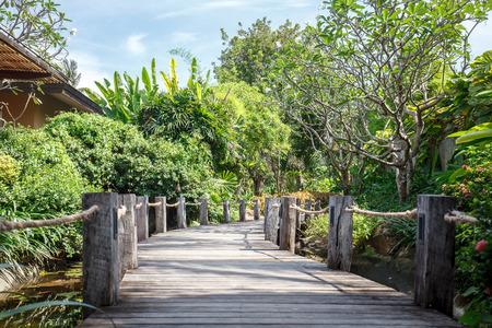 koh samui: Wooden boardwalk through garden in Koh Samui Thailand Stock Photo