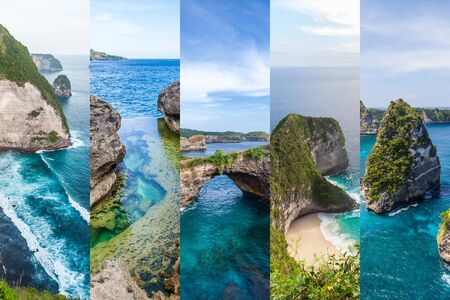 Travel destinations Bali: collage popular must see places of Nusa Penida island