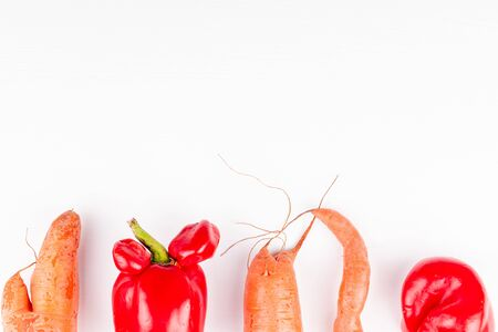Trendy ugly vegetables with mutations, concept of zero waste production in food