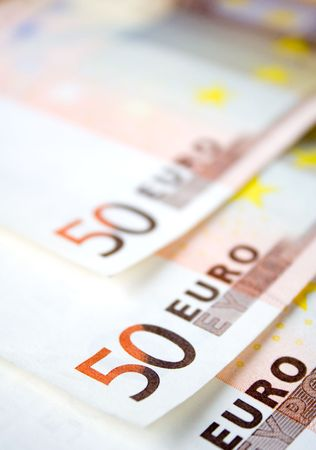 50 euro: European money, 50 euro bills Stock Photo