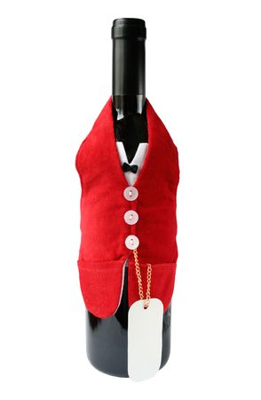 humoristic: Wine bottle with cover and a blank card, write your own greeting or message Stock Photo