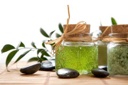 Green color bath salt and liquid soap