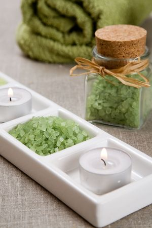 Green bath salt and candles