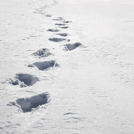 Footprints in white snow with copyspace on right photo