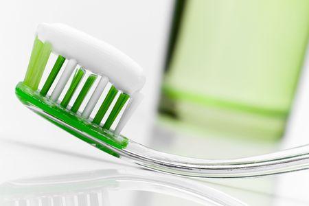 Dental care equipment on white table