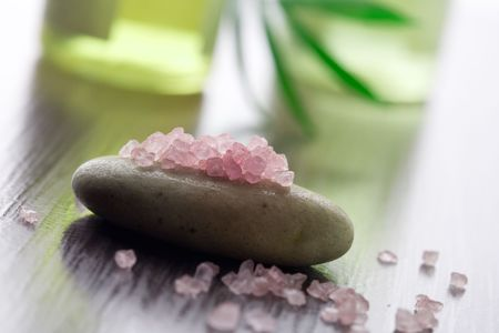 cleaness: Pink bath salt on brown stone
