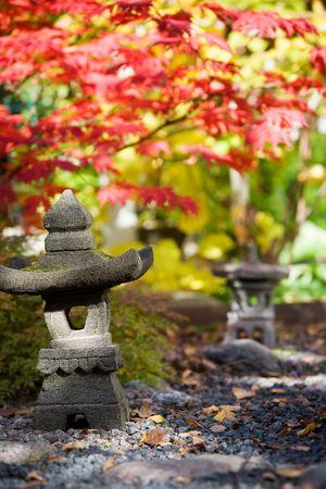 Japanese garden in beautiful autumn colors photo