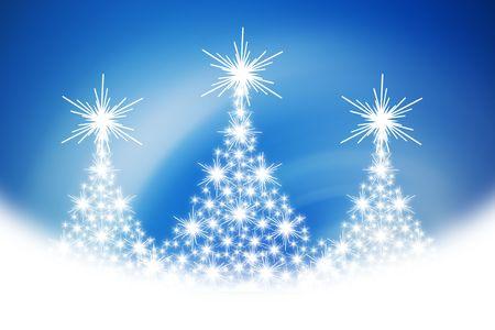 Christmas tree illustration on blue background Stock Illustration - 3779041