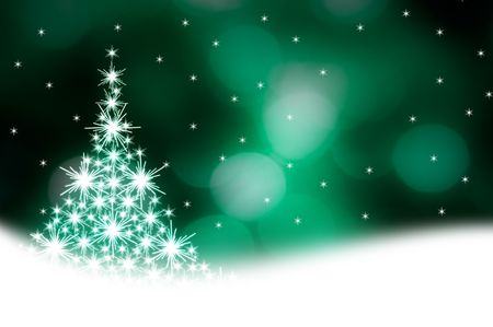 Christmas tree illustration on green background Stock Photo
