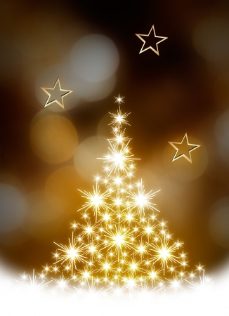 Christmas tree illustration on golden background