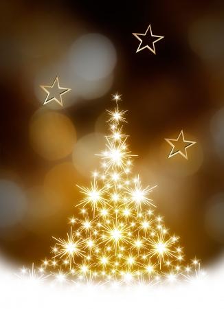 Arbre de Noël illustration sur fond doré